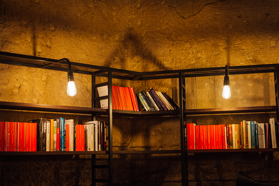 Bookshelves in the Bar