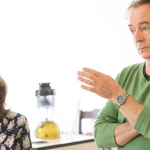 Deborah Findlay and Ron Cooke in The Children rehearsals