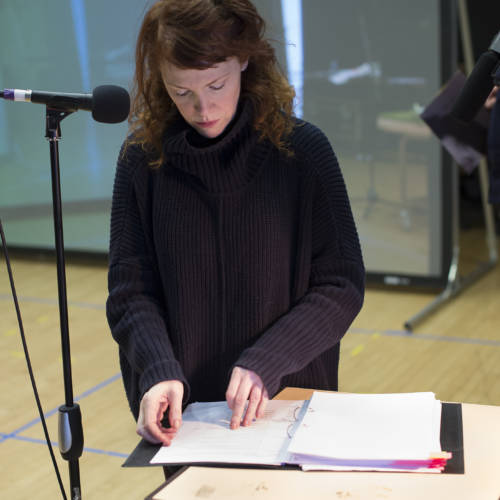 Madeleine Potter in rehearsal for The Kid Stays in the Picture (Photo: Sarah Ainslie)