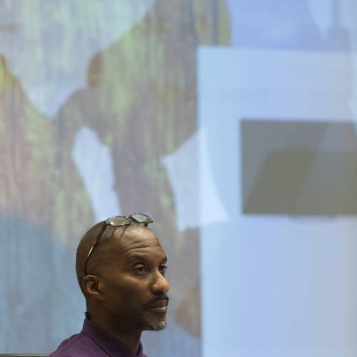 Clint Dyer in rehearsal for The Kid Stays in the Picture (Photo: Sarah Ainslie)
