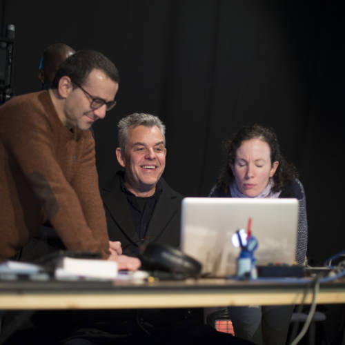 Max Casella and Danny Huston in rehearsal for The Kid Stays in the Picture (Photo: Sarah Ainslie)