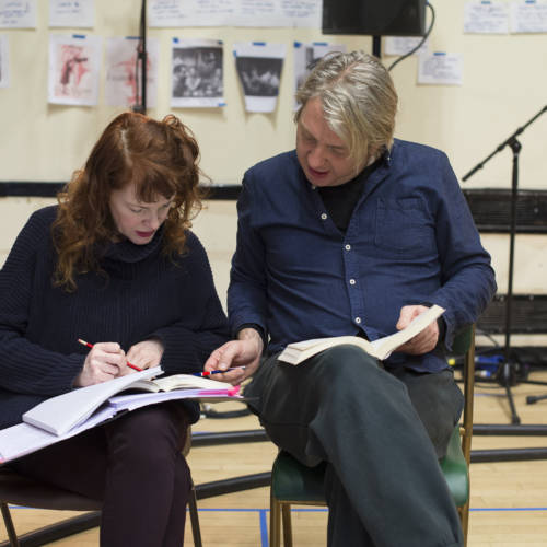 Madeleine Potter and Thomas Arnold in rehearsal for The Kid Stays in the Picture (Photo: Sarah Ainslie)