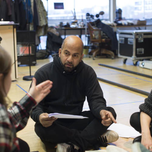 Grace Gummer (Assistant Director), Ajay Naidu and Heather Burns in rehearsal for The Kid Stays in the Picture (Photo: Sarah Ainslie)