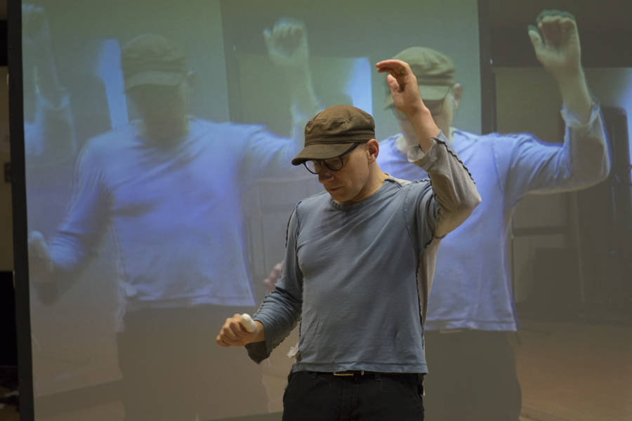 Simon McBurney (Director) in rehearsal for The Kid Stays in the Picture (Photo: Sarah Ainslie)