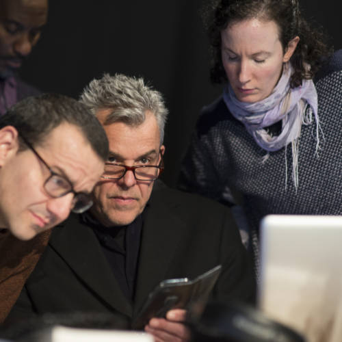 Clint Dyer, Max Casella and Danny Huston in rehearsal for The Kid Stays in the Picture (Photo: Sarah Ainslie)