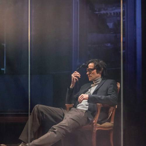 Christian Camargo in The Kid Stays in the Picture directed by Simon McBurney. (Photo: Johan Persson)