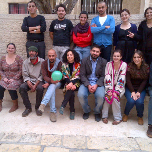 Palestine workshop in Beit Jala November 2013. Mike Bartlett and Penny Skinner