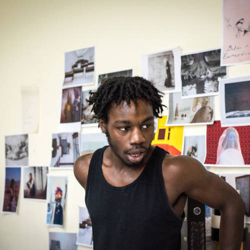 Gerrome Miller in rehearsal for Nuclear War by Simon Stephens (Photo: Chloe Lamford)