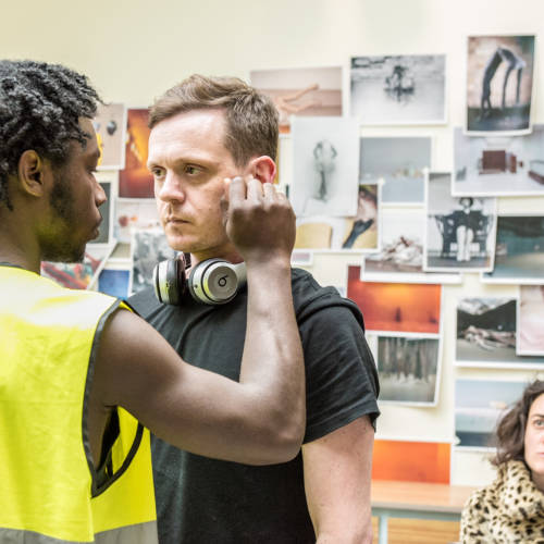 Gerrome Miller, Andrew Sheridan and Beatrice Scirocchi in rehearsal for Nuclear War by Simon Stephens (Photo: Chloe Lamford)