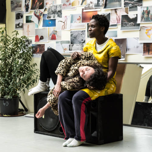 Beatrice Scirocchi and Sharon Duncan-Brewster in rehearsal for Nuclear War by Simon Stephens (Photo: Chloe Lamford)