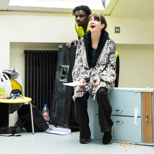Gerrome Miller and Maureen Beattie in rehearsal for Nuclear War by Simon Stephens (Photo: Chloe Lamford)