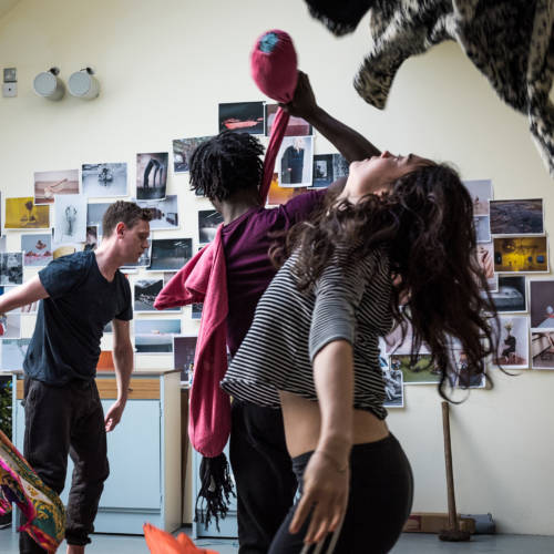 Andrew Sheridan, Gerrome Miller and Beatrice Scirocchi in rehearsal for Nuclear War by Simon Stephens (Photo: Chloe Lamford)