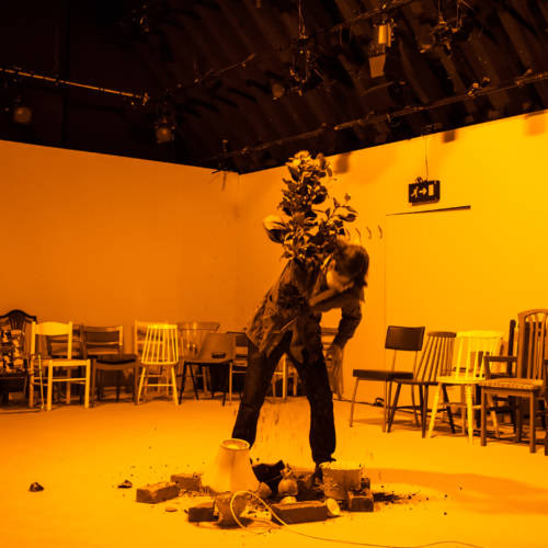 Maureen Beattie in Nuclear War by Simon Stephens (Photo: Chloe Lamford)