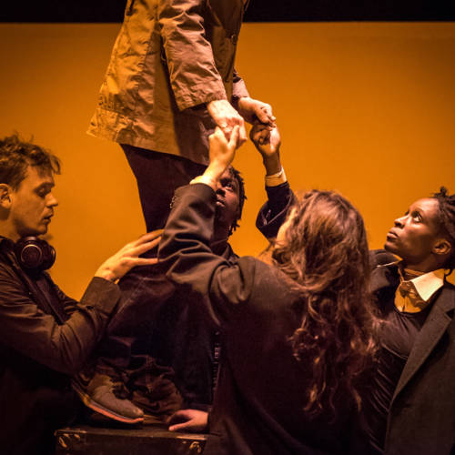 Andrew Sheridan, Maureen Beattie, Gerrome Miller, Beatrice Scirocchi and Sharon Duncan-Brewster in Nuclear War by Simon Stephens (Photo: Chloe Lamford)