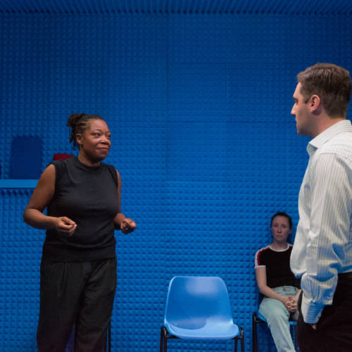 Michele Austin and Sargon Yelda in Lights Out by Stacey Gregg (Photo: Chloe Lamford)
