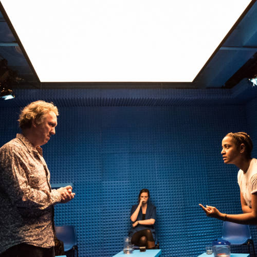 Richard Lumsden, Deborah Pearson and Amaka Okafor in It's All Made Up by Deborah Pearson (Photo: Chloe Lamford)