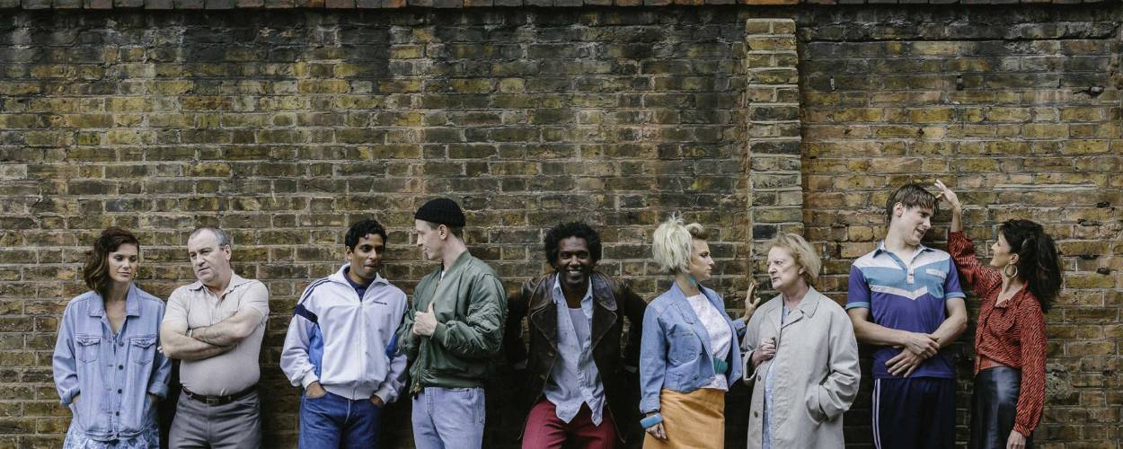 Liz White, Mark Hadfield, Shane Zaza, Mike Noble, Lemn Sissay, Faye Marsay, June Watson, Dan Parr and Michelle Fairley for Road by Jim Cartwright (Photo: Sarah Weal)