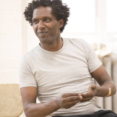 Lemn Sissay (Scullery) in rehearsal for Road by Jim Cartwright (Photo: Johan Persson)