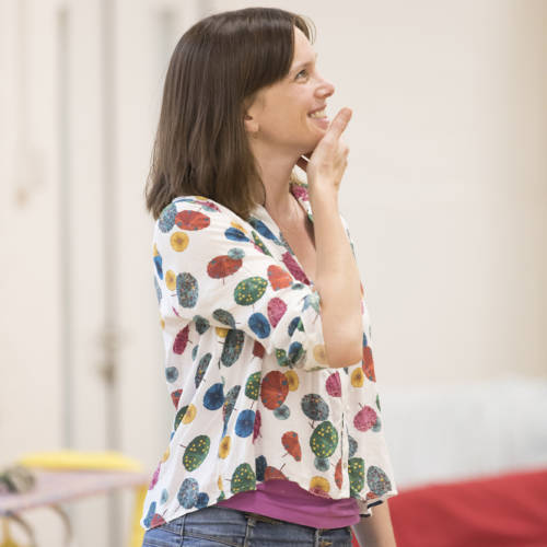 Liz White (Carol/Valerie) in rehearsal for Road by Jim Cartwright (Photo: Johan Persson)