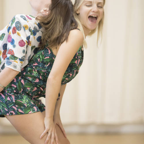 Liz White (Carol/Valerie) and Faye Marsay (Louise/Claire) in rehearsal for Road by Jim Cartwright (Photo: Johan Persson)