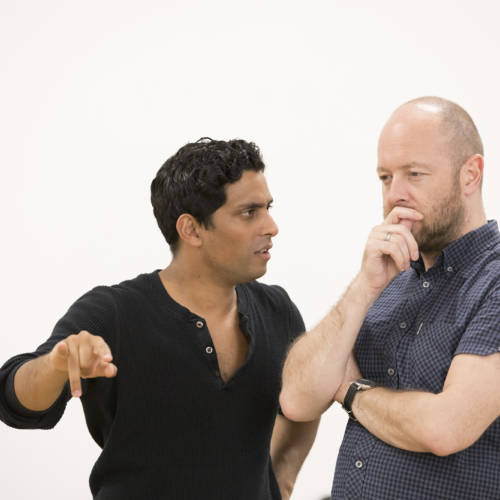 Shane Zaza (Joey) and John Tiffany (Director) in rehearsal for Road by Jim Cartwright (Photo: Johan Persson)