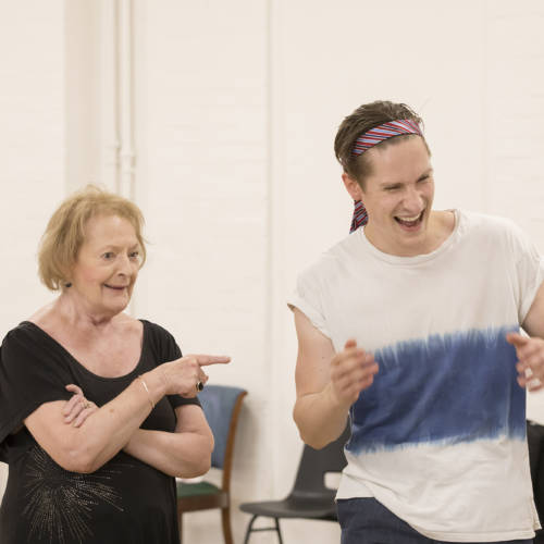 June Watson (Molly) and Dan Parr (Brink) in rehearsal for Road by Jim Cartwright (Photo: Johan Persson)