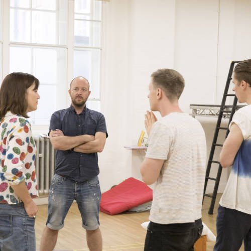 Faye Marsay (Louise/Claire), Liz White (Carol/Valerie), John Tiffany (Director), Mike Noble (Eddie/Skin-Lad) and Dan Parr (Brink) in rehearsal for Road by Jim Cartwright (Photo: Johan Persson)