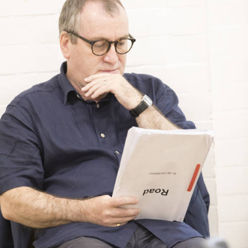 Mark Hadfield (Jerry/Brian) in rehearsal for Road by Jim Cartwright (Photo: Johan Persson)